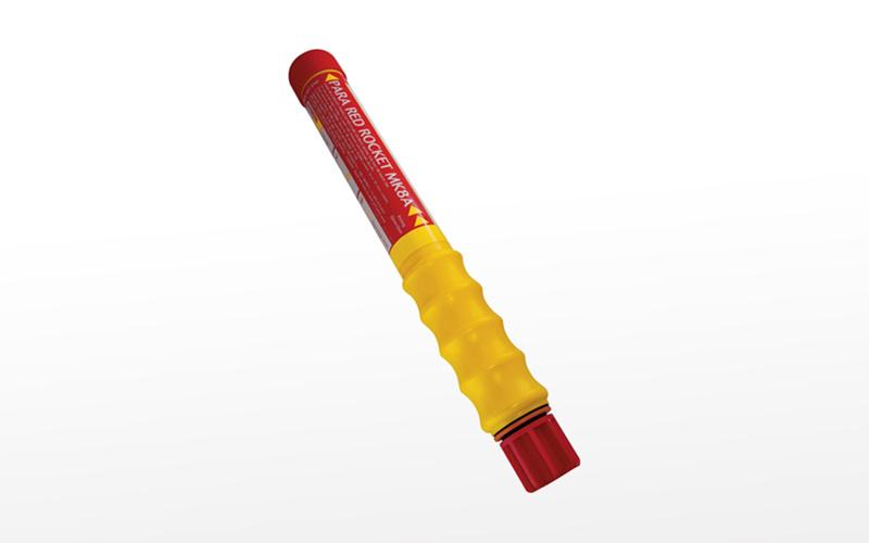 """PainsWessex Red Parachute Rocket, type """"A"""", T.C., SOLAS"""
